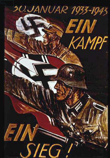 World War II: German poster marking 10th anniversary of Nazi seizure of power in 1933. German soldiers with swastika flags, arms raised in Nazi salute advance to 'One Battle One Victory'. Withdrawn after defeat at Stalingrad.