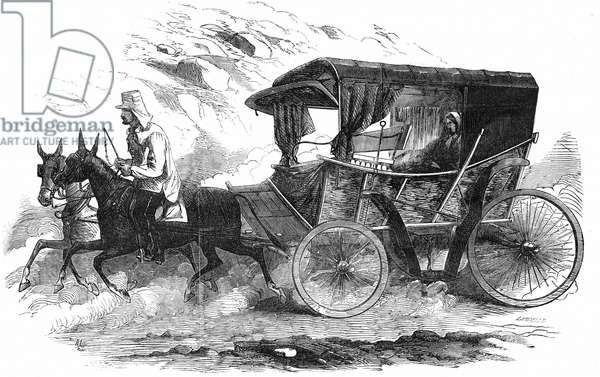 Florence Nightingale (1820 -1910) English nurse, in her carriage in the Crimea. 'It is a homely vehicle corresponding to the womanly simplicity of her whom it was employed to convey'. From The Illustrated London News, 30 August 1856. Wood engraving.