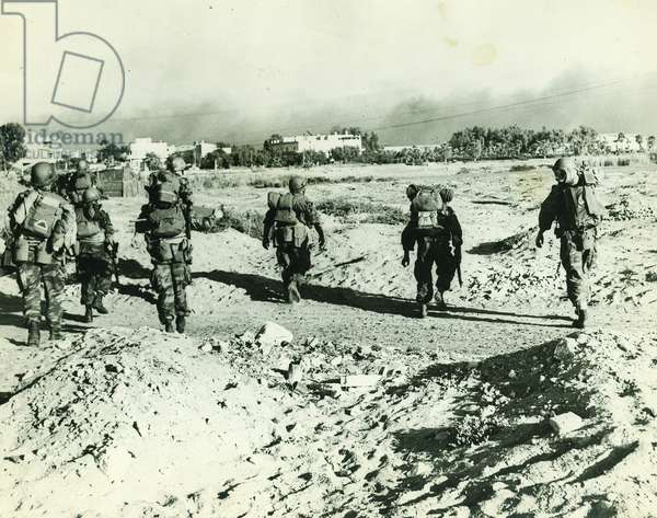 Suez Crisis or Tripartite Agression, 1956. French parachutists shortly after landing in Port Said, Egypt.