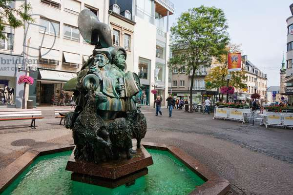 Fountain Featuring Musicians and Sheep on Avenue Monterey, Luxembourg (photo)