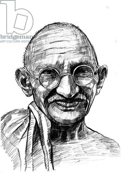 Mohandas Karamchand Gandhi dit Mahatma Gandhi (1869-1948), leader politique et spirituel indien - vertical   Drawing  Sketch of  Mohandas Karamchand Gandhi  Mahatma Gandhi  mumbai bombay maharashtra    India Asia, South Asia ©Dinodia/Uig/Leemage