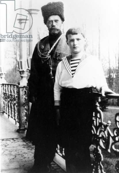 Russian Emperor Nicholas Ll and his Son Alexei in Tsarskoye Selo, Near Petrograd in 1915, this Photo Was Taken by Empress Alexandra Fyodorovna.