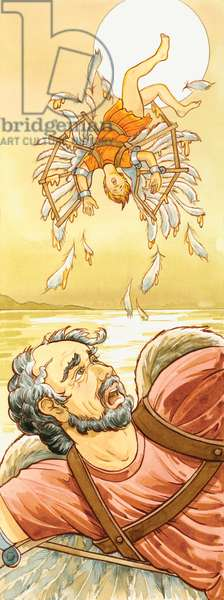 Dedale et son fils Icare, mort apres avoir vole trop pres du Soleil avec des ailes de cire creees par son pere - In Greek mythology the inventor Daedalus and his son Icarus used wings of wax to fly, but Icarus flew too close to the sun ©Encyclopaedia Britannica/UIG/Leemage