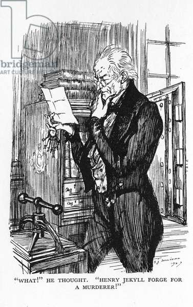 Robert Louis Stevenson The Strange Case of Dr Jekyll and Mr Hyde first published 1886. Mr Utterson, reading Hyde's letter to Jekyll, realising that the handwriting of the two is the same. Illustration by Edmund J. Sullivan from an edition published 1928.