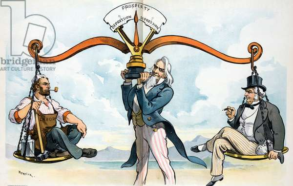 "Uncle Sam holding up a balance scale with ""Labour"" on the left and ""Capitol"" on the right;"