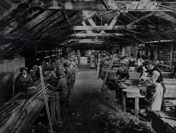 Women Working in Aeroplane Rib-Making Shop, 1916 (b/w photo)