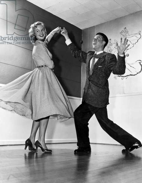 Swing Dancing Couple (b/w photo)