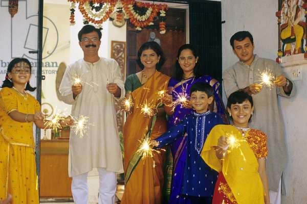 India. Diwali Festival. Family With Sparklers