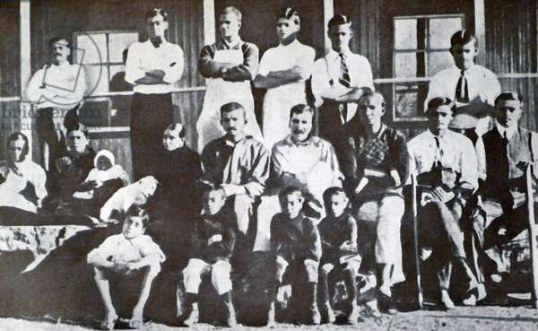 Mohandas Karamchand Gandhi with Kallenbach and others at the Tolstoy Fram 1910