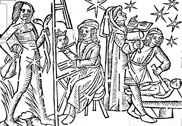 A woodcut engraving depicting Mercury and the activities under its government. Mercury was considered a male planet, and as dry and passive. Those born under Mercury were eloquent and inventive and loved science especially mathematics, and were tall, slender and delicate. The planet's metal was quicksilver, its day Wednesday and its night Saturday. It was friendly to the Sun and hostile to Venus and had two houses, Gemini by day and Virgo by night, 16th century