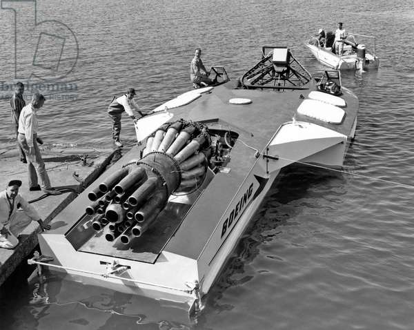 A jet powered speed boat made by Boeing (b/w photo)