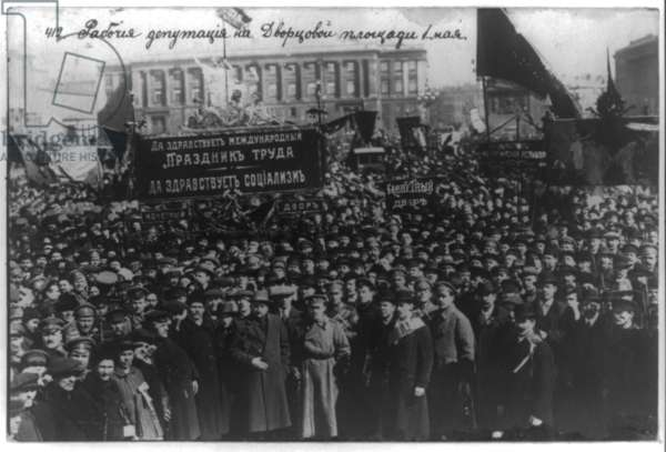 Russian revolution Labourer's deputation on the Dvortsovyi Square, Petrograd, the 1st of May 1917