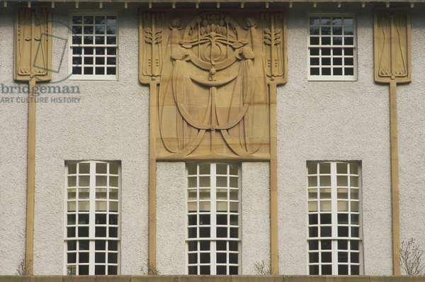 Great Britain, Scotland, Glasgow, House for an Art Lover, facade detail of a design by Charles Rennie Mackintosh