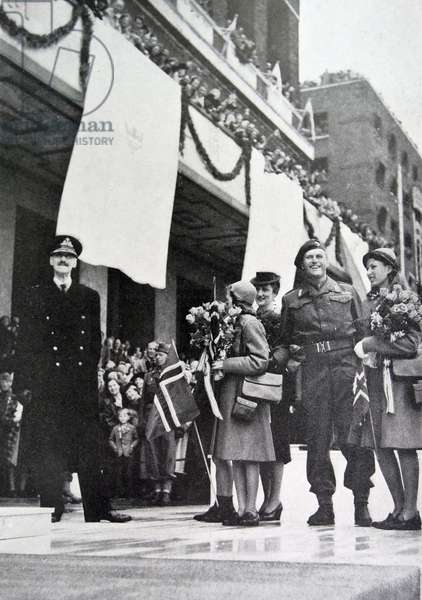 King Haakon, Crown Princess Martha, Prince Olav, Princess Ragnhild, princess Astrid of Norway, 1945