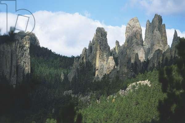 USA, South Dakota, Black Hills, granite hills in forest, front view