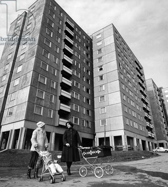 Mothers With Strollers In Front Of New Housing Built As Part Of The Sixth Five-Year Plan In The South Western Part Of Budapest. January, 1981.