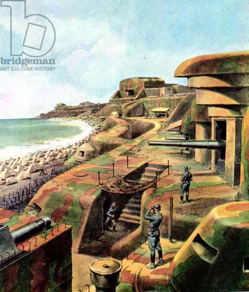 World War II-D Day 1944-Massive German fortifications defending the Atlantic Wall along the French coast from the threat of Allied attacks