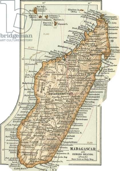 Map of Madagascar and Comoro Islands