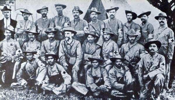 Mohandas Karamchand Gandhi (seated centre)