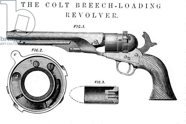 Colt revolver. Fig. 2 shows the breech disc, Fig. 3, the cartridge in section. From The Mechanics' Magazine, London, 1869.