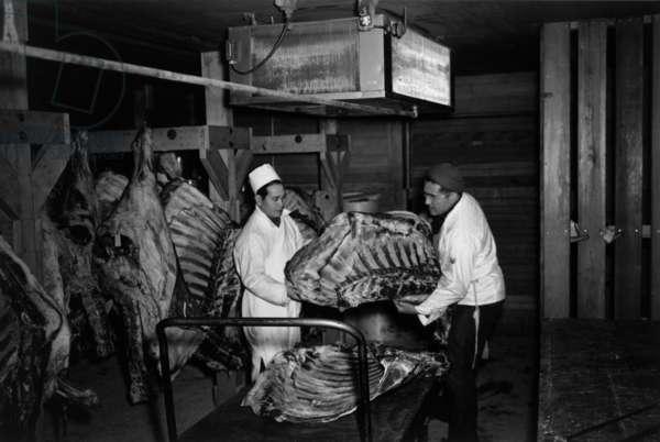 Butcher shop, Manzanar Japanese American Internment Camp, California, 1943 (b/w photo)