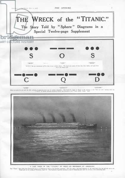 Morse Code signals and illustration of the steam ship docked at Cherbourg at night, from 'The Sphere', 27 April 1912 (litho)
