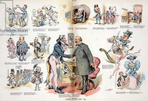 Uncle Sam and President Cleveland shaking hands, 1894