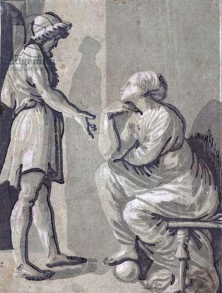 Raphael and his beloved by Ugo da Carpi, 1480 - 1532