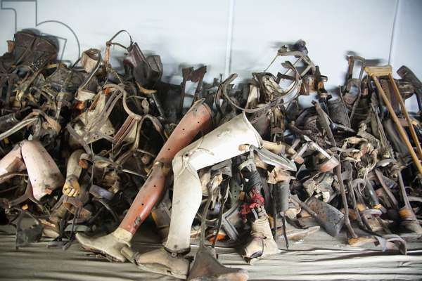 Pile of Prosthetic Devices Belonging to Handicapped People Murdered at the Auschwitz Concentration Camp, Oswiecim, Malopolska, Poland (photo)