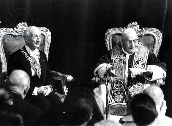 1963 Rome Italy-Visit of Pope John XXIII at the Quirinal Palaca with the President of the italian Republic Antonio Segni