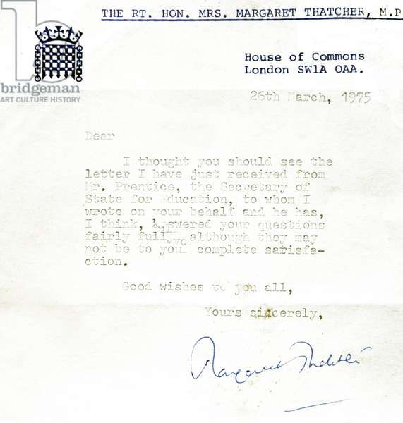Letter from Margaret Thatcher, 1975