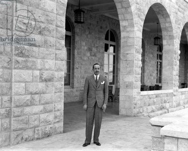 Ex-King Alfonso XIII of Spain at the King David Hotel, Jerusalem, 3 March 1932. Alfonso (1886-1941) posthumous son of Alfonso XII , his mother acted as Regent until 1902. He was deposed in 1931.