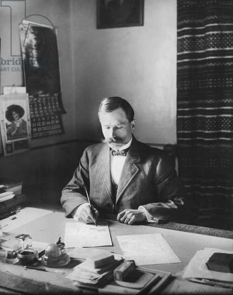 Aleppo, Syria: 1915 U. S. Consul Jesse Jackson at his office in the Consulate. He is credited with saving the lives of thousands of Christian Armenians from the Turks.  (b/w photo)