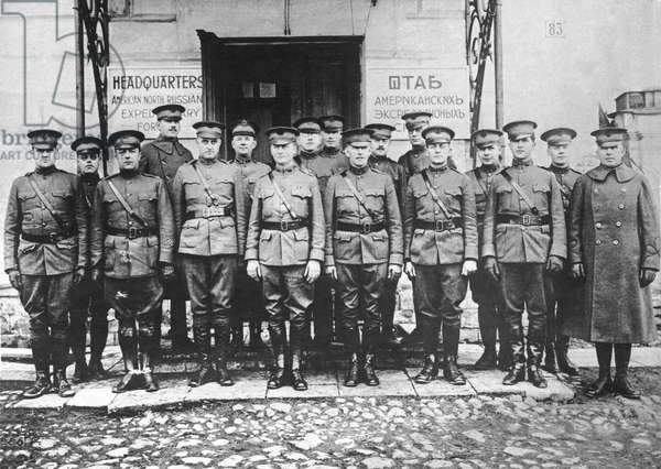 Archangel, Russia: March 4, 1919 Officers of the United States Expeditionary Forces at their headquarters .  (b/w photo)