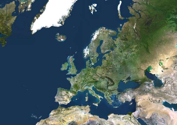 Continental Europe, True Colour Satellite Image