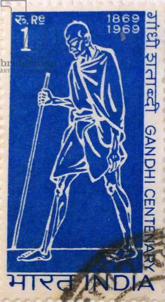 Indian postage stamp commemorating the centenary of Mahatma Gandhi the spiritual father of India's independence, 1969