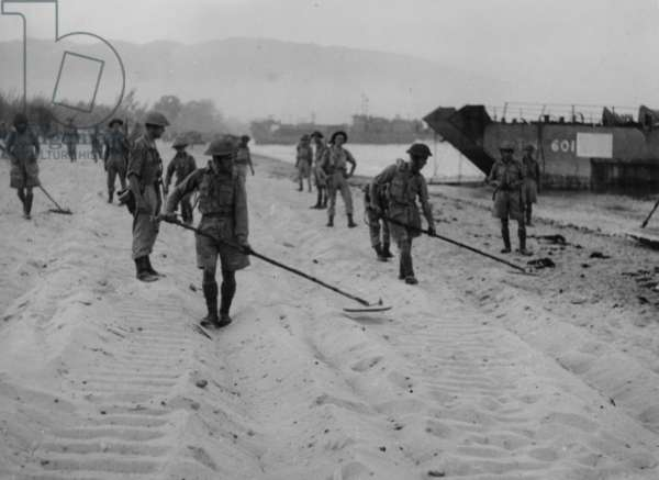 Soldiers With Metal Detectors Searching for Mines, 1942 (b/w photo)