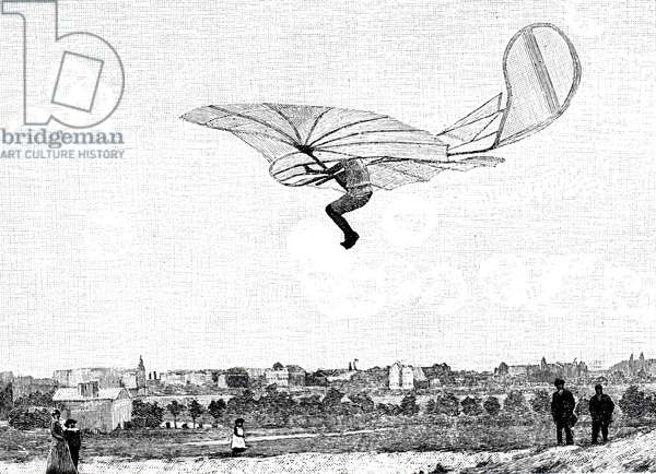 Otto Lilienthal flying his glider