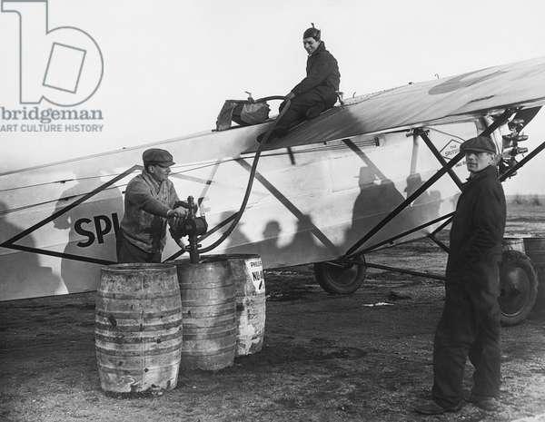 Fueling The Splitdorf, Roosevelt Field, New York, December 22, 1927 (b/w photo)