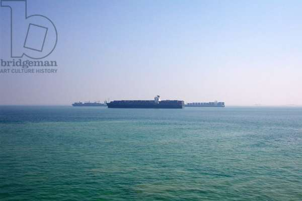 Containerships waiting to enter the Suez Canal in Egypt 2010