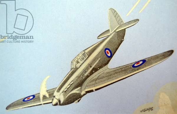 World War Two: French postcard depicting a British RAF Hawker Hurricane aircraft.