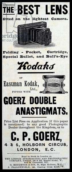 Advertisement for a Kodak lens