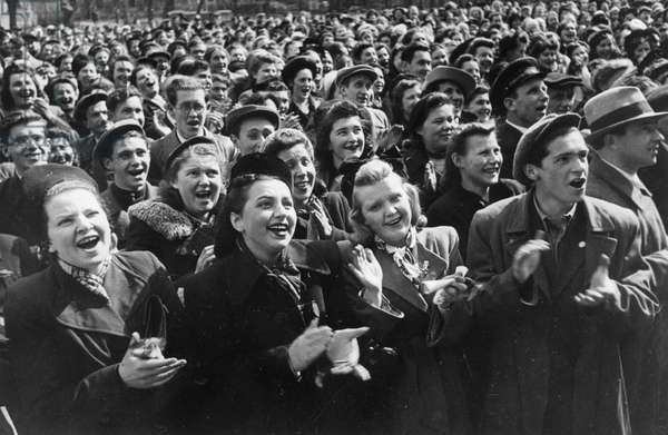 Victory Day Celebration in Leningrad, USSR, May 1945, Happy Leningrad Residents Cheering the End of World War 2 in Europe.