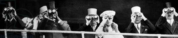 King George V and Queen Mary look out through binoculars, 1935