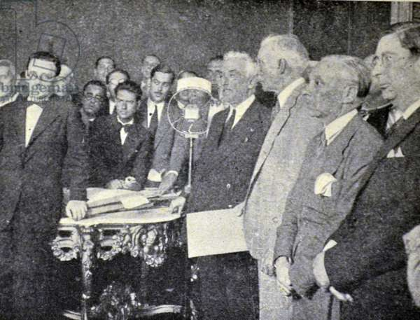 Spanish civil war: Alejandro Lerroux y Garcia third from right as prime minister, with President Alcalá Zamora (4th from right) 1935