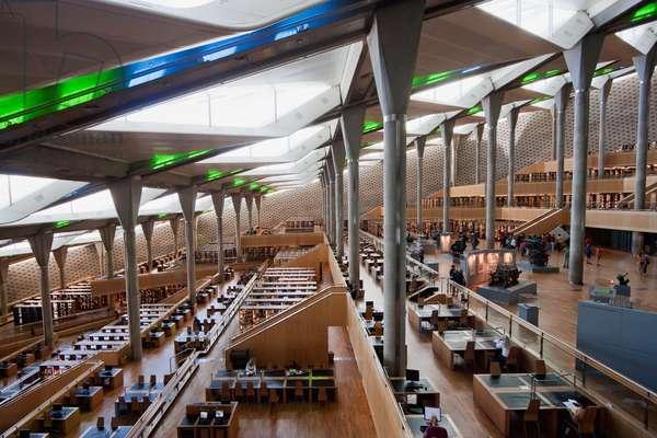 Interior View of Main Reading Room in the Bibliotheca Alexandrina, the Modern Library of Alexandria, Alexandria, Al Iskandar (photo)