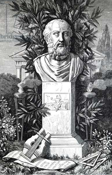 A bust of Plato.