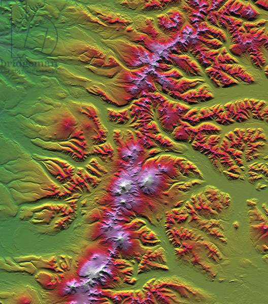 Sredinnyy Khrebet, Kamchatka Peninsula, Russia, shown in this image created from a preliminary elevation model based on first data collected during the Shuttle Rad. Credit NASA. Science Earth Geology Cartography