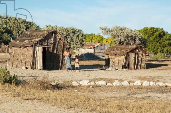 People in Front of Their Homes in Mangily, Toliara Province, Madagascar (photo)