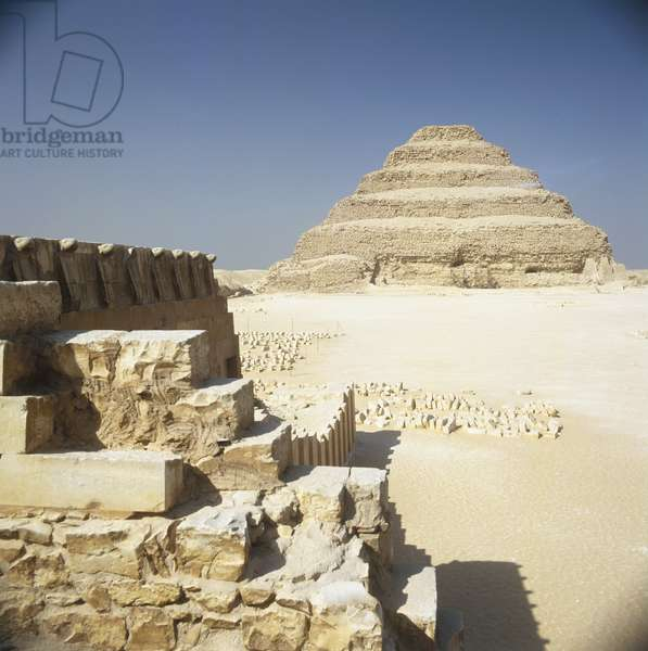 Egypt, Saqqara, The Step Pyramid of Djoser or Zoser, side view.